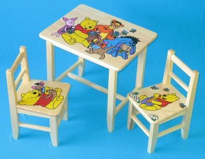 Dětský dřevěný stoleček, židličky a taburet Medvídek Pú W31S+2K+1T mix