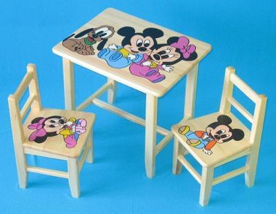 Dětský dřevěný stoleček, židličky a taburet Mickey Mous W41S+2K+1T mix