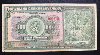 100 korun 1920,neperforovana serie V
