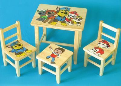 Dětský dřevěný stoleček, židličky a taburet Psí Hlídka W35   1S+2K+1T