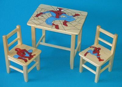Dětský dřevěný stoleček, židličky a taburet Spider Man W24 1S+2K+1T