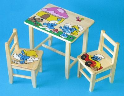 Dětský dřevěný stoleček, židličky a taburet Šmoulové W5 1S+2K+1T