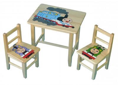 Dětský dřevěný stoleček, židličky a taburet Vláčky W23 1S+2K+1T