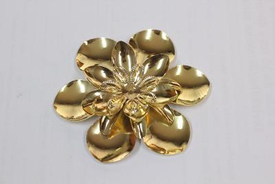 ozdobný plech - květina, barva gold, průměr 73