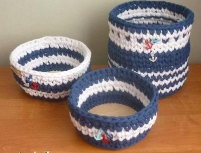 háčkované košíky 3kusy