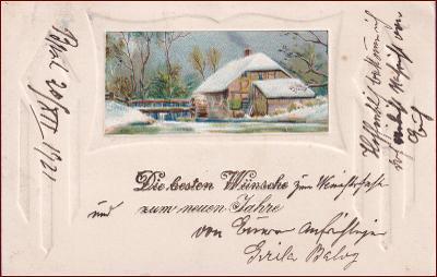 Nový rok * vodní mlýn, zimní motiv, tlačená, gratulační * M3189