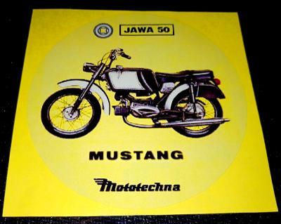 JAWA 50 MUSTANG (bílá samolepka pr.7-1x).