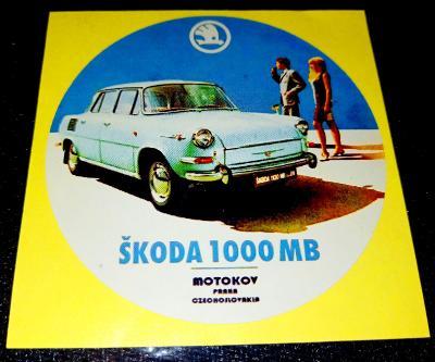 ŠKODA 1000MB MOTOKOV (bílá samolepka pr.7-1x).