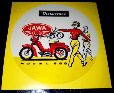 JAWA 50 MODEL 555 (bílá samolepka pr.7-1x).