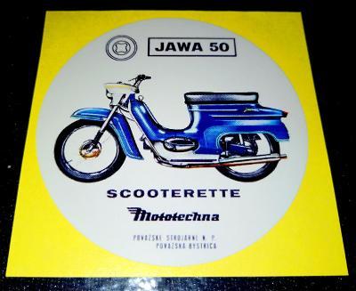 JAWA 50 SCOOTERETTE (bílá samolepka pr.7-1x).