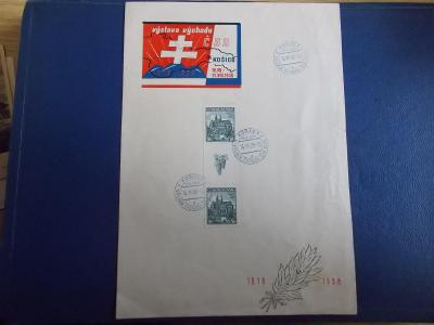 Filatelie Pamětní list 1938 Košice Slovensko Výstava východu meziarší