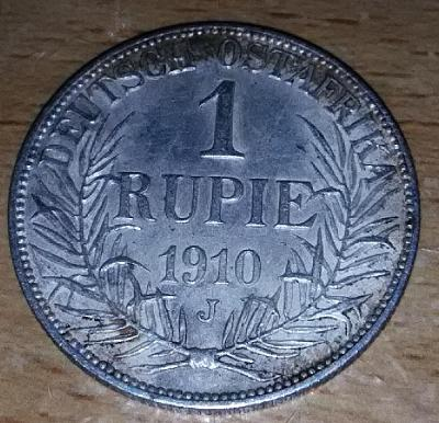 1 Rupie, Německá Východní Afrika, Vilém II., 1910