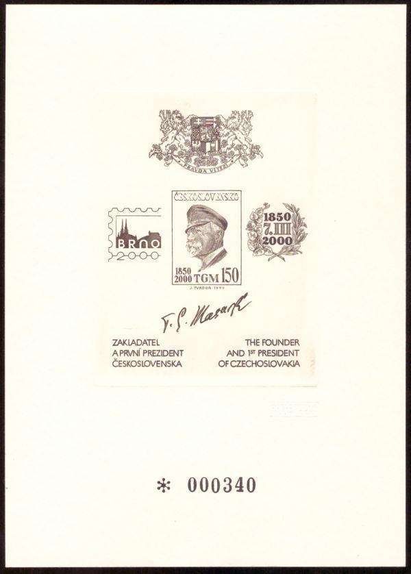 ČR: OCELORYTINA TGM, VÝSTAVA BRNO 2000 - ČÍSLOVANÝ KUS (S1920) - Filatelie