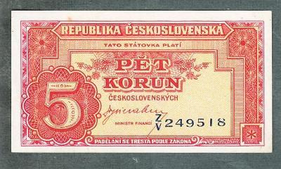 5 kčs 1945 serie ZV neperforovana stav 0