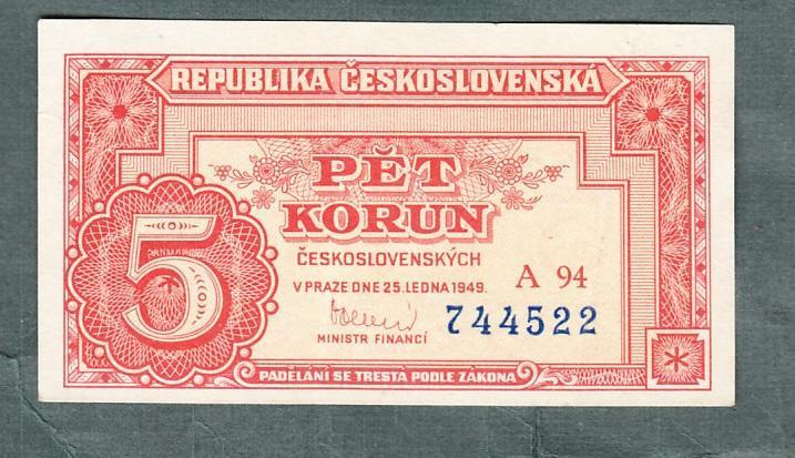 5 kčs 1949 serie A94 neperforovana stav 1 - Bankovky