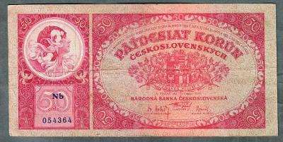 50 korun 1929 serie NB NEPERFOROVANA