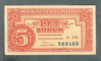 5 kčs 1949 serie A108 NEPERFOROVANA stav 0