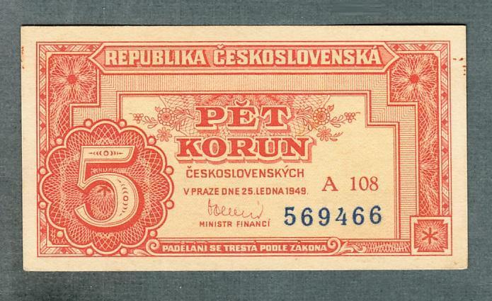 5 kčs 1949 serie A108 NEPERFOROVANA stav 0 - Bankovky