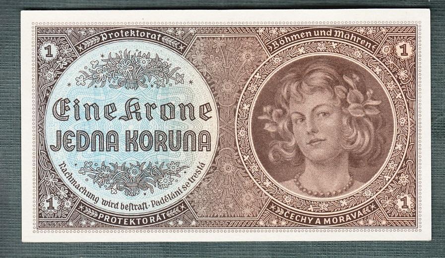 1 koruna 1940 serie D008 NEPERFOROVANA stav 0 - Bankovky