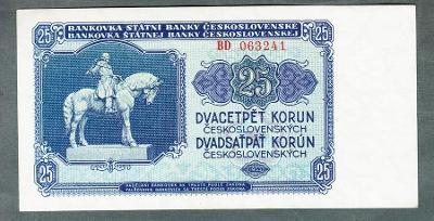 25 kčs 1953 serie BD neperforovana stav 0