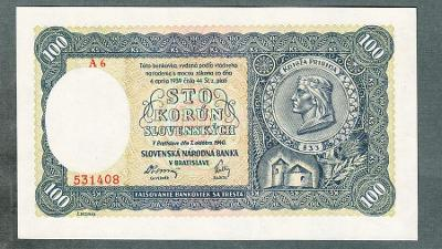 Slovensko 100 ks 1940 serie A6 NEPERFOROVANA stav 0