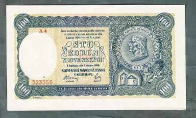 Slovensko 100 ks 1940 serie A4 !!! NEPERFOROVANA stav UNC