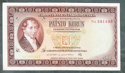 500 kčs 1946 DVĚ PÍSMENA NEPERFOROVANA stav 1