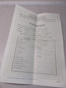Staré starožitné vysvědčení 1952/1953, vyšší průmyslová škola