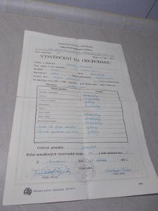 Staré starožitné vysvědčení na odchodnou 1950/1952, Základní odborná