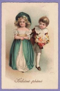 pohlednice přání svátek děti litografie