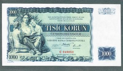 1000 korun 1934 NEPERFOROVANA stav 1+
