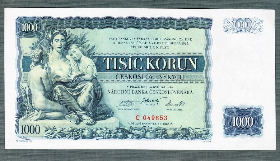 1000 korun 1934 NEPERFOROVANA stav 1+ - Bankovky
