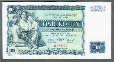 1000 korun 1934 serie R NEPERFOROVANA stav 1-
