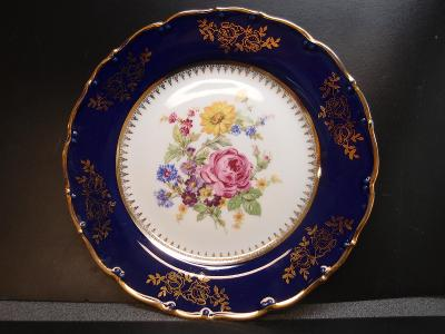 romantický talíř s kobaltem, top stav