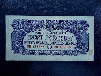 5 Korun 1944 Serie BH NEPERFOROVANA