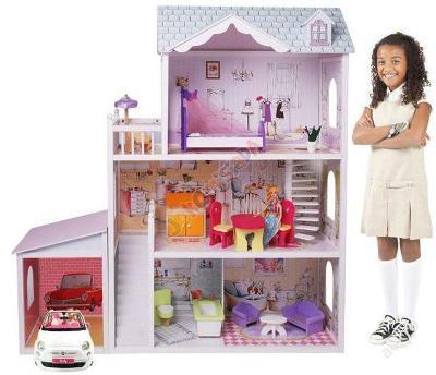 Obrovský dřevěný Panenka dům + garáž + panenka