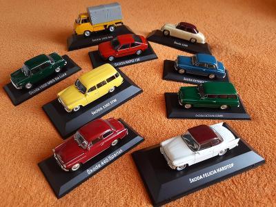 sbírka 9 kusů kovových modelů ŠKODA 1:43 určené do sbírky TOPSTAVY