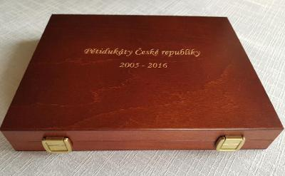 Nedokončená sada zlaté pětidukáty České republiky 2005 až 2016 RRR 7ks