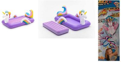Nafukovací postel Jednorožec + dárek létající koník pop up