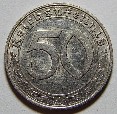 Německo 3. Říše 50 Reichspfennig 1938G NEJVZÁCNĚJŠÍ RR XF-UNC č24161