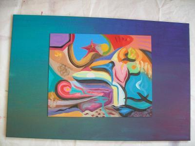 ZBYTEK Z PALETY 3, akryl na sololitu, 50 x40 cm