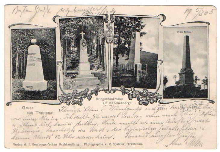 Gruss aus Trautenau - Kriegerdenkmäler am Kapellenberg  - Pohlednice