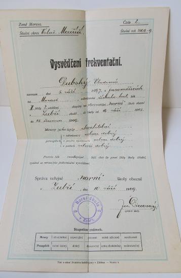 Starý dokument vysvědčení frekventační - Antikvariát