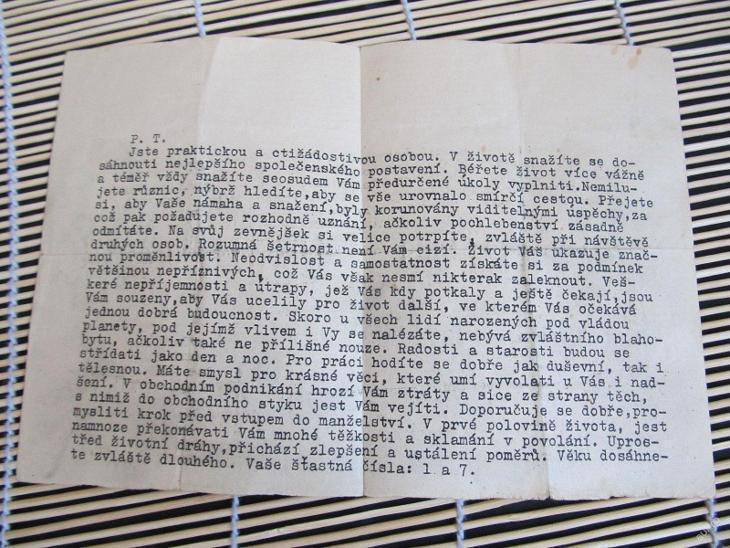 Starý dokument Horoskop  1943 - Antikvariát