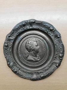 Starý bronzovy talíř s motivem MOZART- lze pověsit