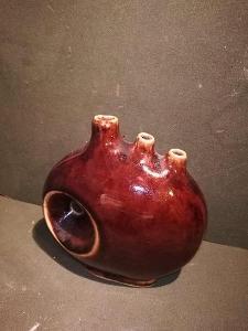 Zajímavá váza na ikebanu - Brusel- hnědá barva