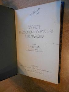 Tvrdý J. - Vývoj filosofického myšlení evropského - 1923