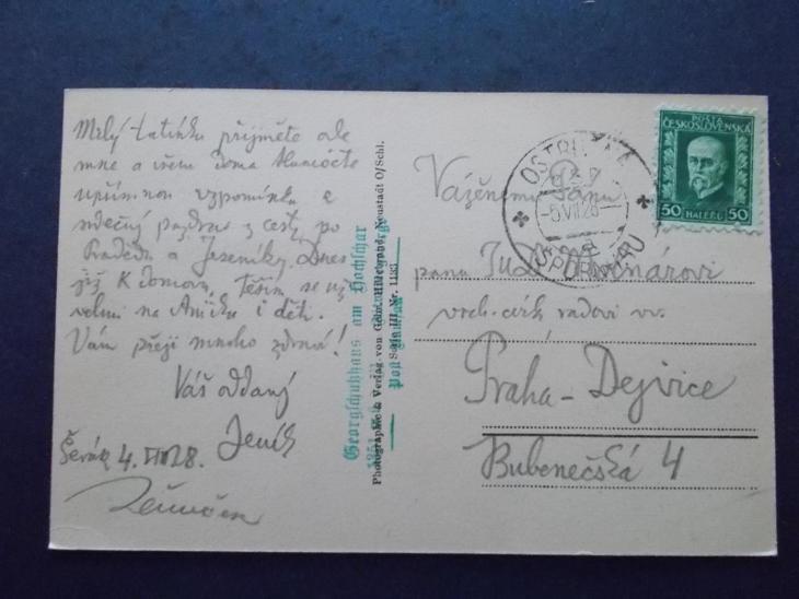 Sudety Sudetengau Jeseníky Frývaldov Šerák Jiřího chata razítko 1928 - Pohlednice