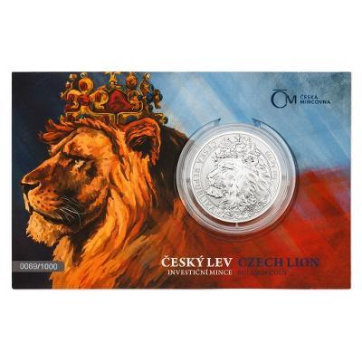 Stříbrná uncová investiční mince Český lev 2021 stand číslovaný
