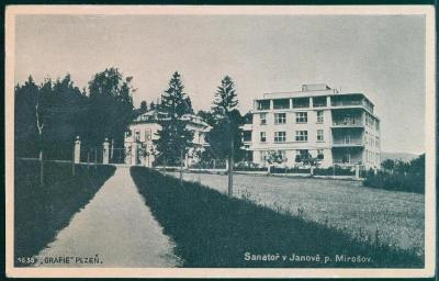 10D821 Sanatorium Janov, Plzeň, MIROŠOV- ROKYCANY vlakové razítko !!!